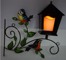 SCL0123 warm white candle flashing led metal bird house hanging outdoor solar garden light