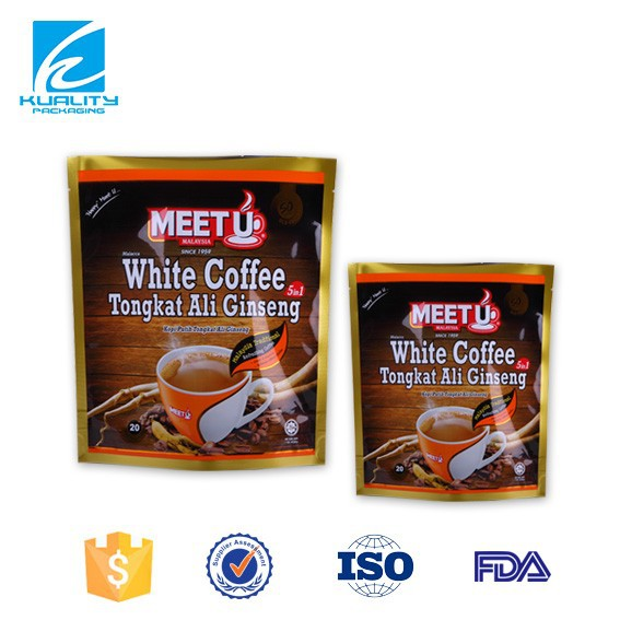 FDA stand up hermetic sealed custom made coffee bags