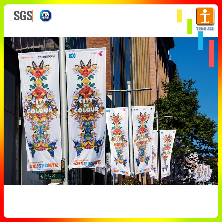 Double sided printed custom street roadside banner flag, street pole flag