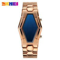 High quality Luxury blue light iron lava gold samurai led watch