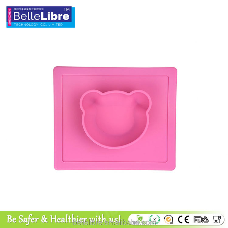 Wholesale Colourful Durable 100% Food Grade Silicone Bear Pet Food Bowl Mat