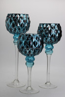 Home Decoration Use and Glass Material blue mercury glass candle holder