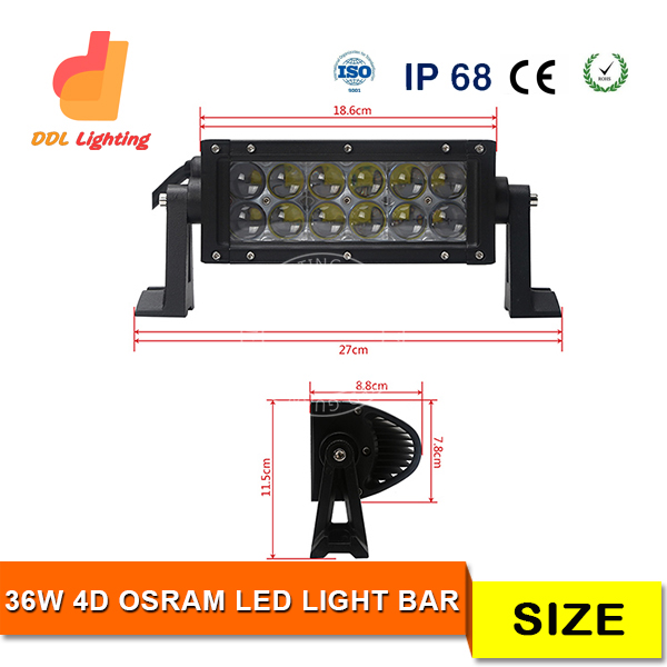 super bright double row 7.5inch 36w crees led curved light bar for trucks