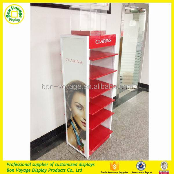 Famous brand cosmetic point of sale metal dislay stand makeup display rack