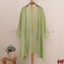 Womens Sleeve Loose Long Flax Linen Summer Coats