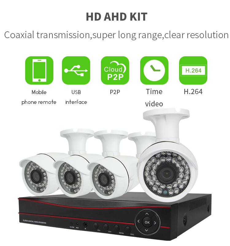 Vitevison security camera system with 1mp <strong>1</strong>.3mp AHD camera H.264 4ch AHD DVR Kit