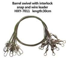 2015 wholesale Barrel fishing swivel with interlock snap and wire leader