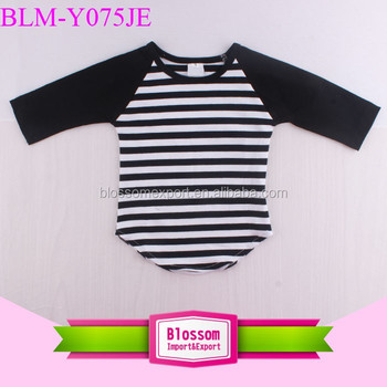 Baseball sport tee shirt personalized stripe black frock design cotton boutique raglan curved hem teenager top shirt wholesale