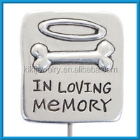 wholesale silver plated alloy pet grave marker charm custom charms jewelry