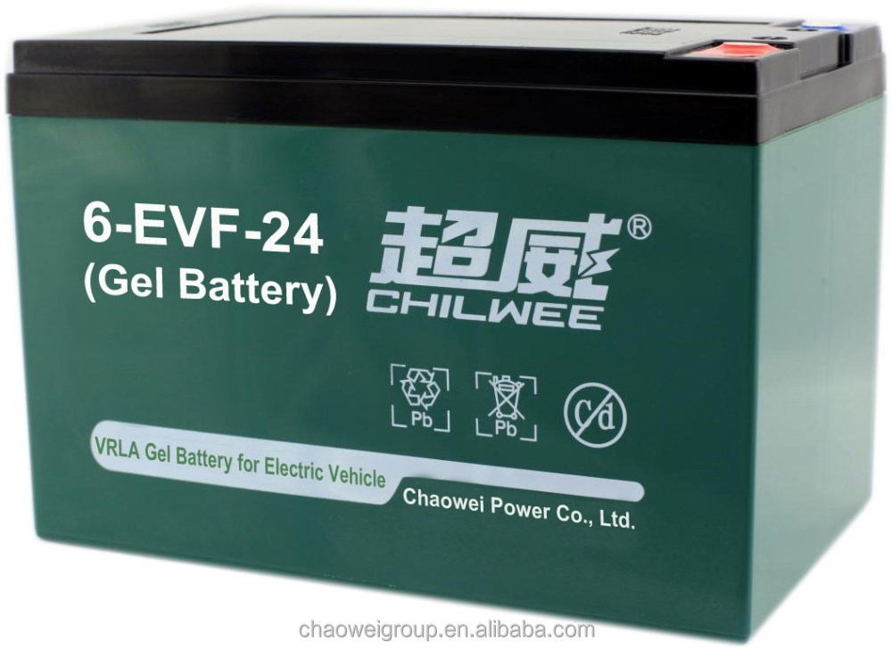 EVF Series VRLA Gel battery for electric bike, electric tricycle, 12V 24Ah/2hr