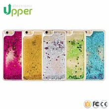 Mobile phone back cover liquid 3D cute crystal clear glitter professional case moving for iphone 6