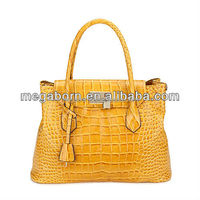Crocodile Skin Pattern Fashion Lady Genuine Leather Handbag