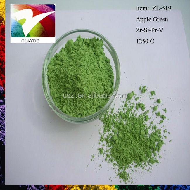 1250c apple green ceramic color pigment for glasspaint color - Poudre Color Run