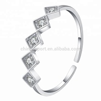 Resizable Clear CZ stone 925 sterling silver rings for women
