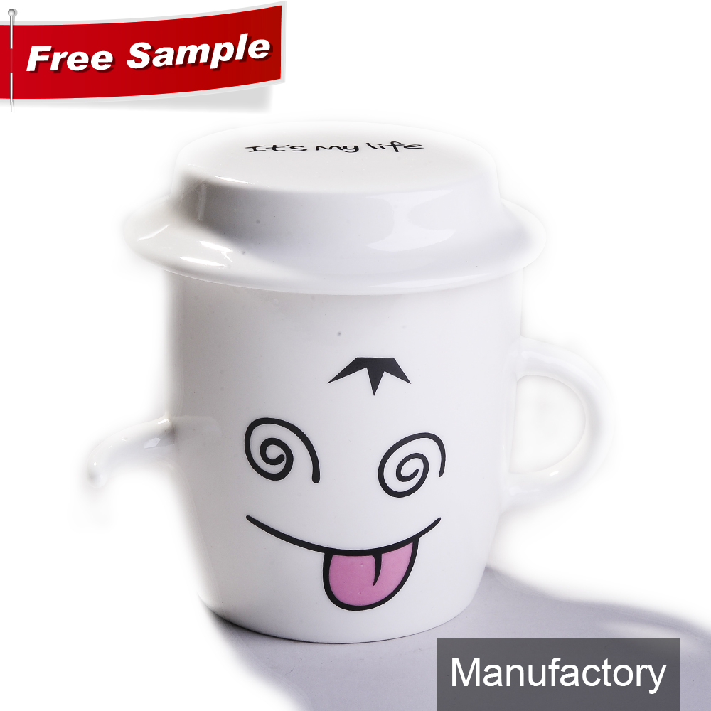 bulk chinese smile ceramic porcelain tea cups with spoon