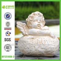 Sitting On Stone Baby Table Resin Angel Decoration