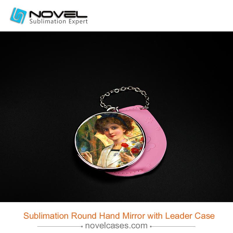 Sublimation Metal Hand Mirror with Leader Case,Round Shape Hand Mirror