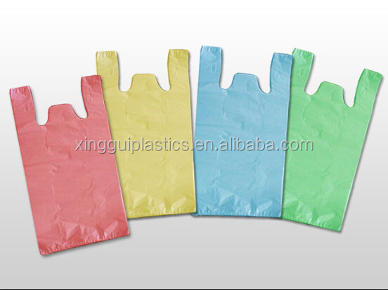 Good quality HDPE vest bags plastic bag colored shopping bags from China