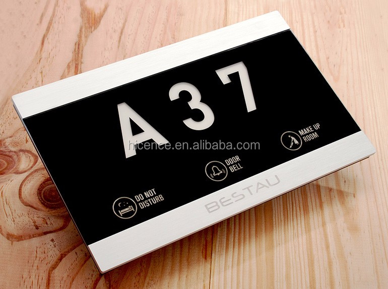 Customized electronic led hotel room number plate signs with different functions combined