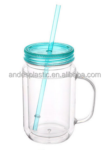 Wholesale Best Quality Thick Walled Insulated Glass Mason Jar With Lid And Straw