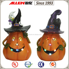 "10.8"" resin wearing witches hat pumpkin sculpture with led light, pumpkin with ghost and black cat sculpture"