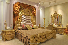 AS22101-wood carving antique luxury king bedroom sets with bedroom carved gold classic european furniture bedroom set