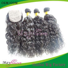 Full Head 3 pieces Brazilian Loose Curl Weave Hair Extensions For Black Hair With A Silk Top Lace Closure hidden knots