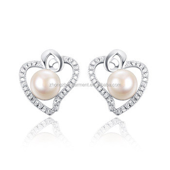 New Design Fashion Pearl Stud Earring W/ Zircon Silver Tone Earring