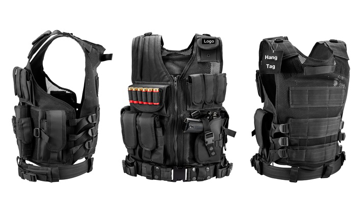 Military Combat Tactical Vest With Universal Pistol Holster And Mesh Design