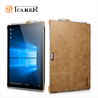 ICARER Real Leather Back Cover Tablet Case for Microsoft Surface Pro 4 with Stand Function Luxury Series