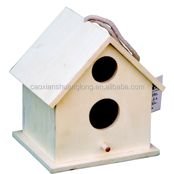 Decorative outdoor hanging wooden bird house
