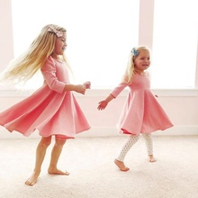Children Europe and the United States in the spring and autumn <strong>girl's</strong> long-sleeved solid color <strong>dress</strong> children's wear a hair