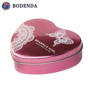 Christmas heart shape candy tin box packaging