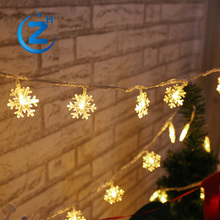 Small battery copper wire party wedding city waterproof decorative twinkle snowflake color changing light chain christmas led