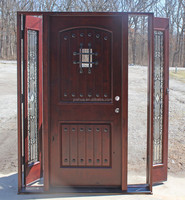 Exterior Mahogany solid Wood front entry door with sidelites open door