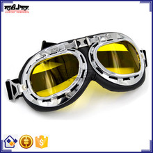 BJ-GT-001 Best Selling Durable dirt bike cross Silver Frame Yellow Lens halcyon safety eyewear pilot goggle