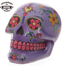 polyresin Day of the Dead Mexican Skull Money Box
