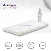 Removable roll up travel cooling gel memory foam mattress topper