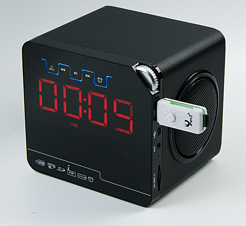 Portable Mini Bluetooth Speaker with FM, clock alarm, usb charger