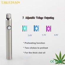 electronic cigarette mod 510 P2 preheat oil adjustable voltage battery for cbd vape pen
