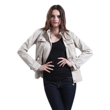 2018 New Style Women Snap Placket Solid Color Twill Washed Cotton Jacket