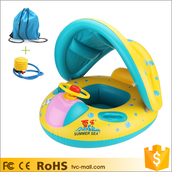Inflatable Kids Baby Swim Float Boat with Sunshade Inflatable with Trumpet