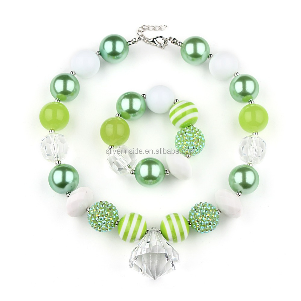 St Patrick's Day Green girl Chunky necklace Set for Little Girls Teens