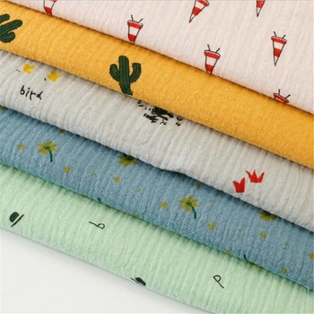 100% cotton double sanded crepe crepe printed fabric