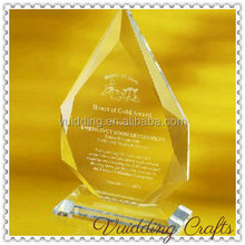 Wood Base Crystal Glass Beveled Blank Diamond Awards