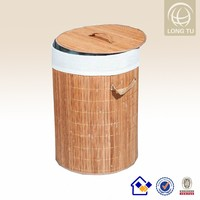 2017 Fashion Collapsible Handled Round Bamboo Laundry Hamper / Basket with Cotton Lining