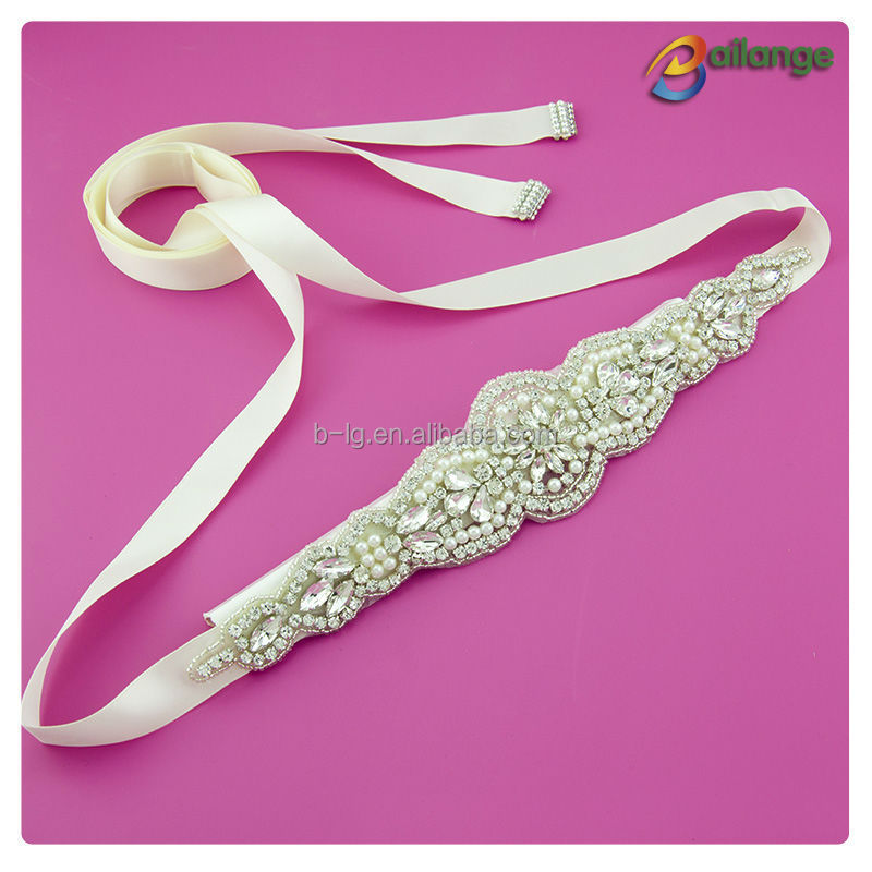 Trade assurance supplier Wholesale factory price Crystal bridal rhinestone sash/ bridal belt for weddings