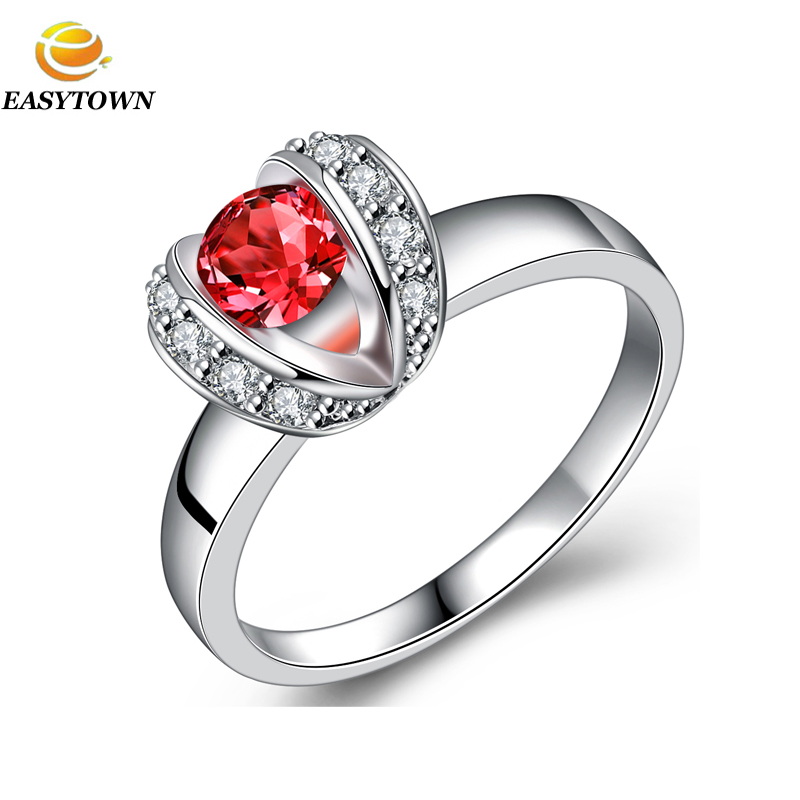 Wholesale fashion white gold plating red diamond pave setting wedding ring women finger ring