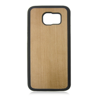 High quality nature cherry wood sticker phone case, cheap tpu+pc bamboo case cover for samsung s6