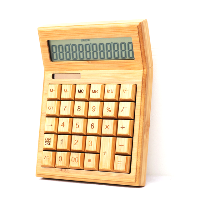 Chinese supplier direct sell new classic bamboo wooden high quality calculator solar with patent